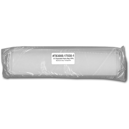 "18""   Max Grip, Transparent, Disposable Pastry Bag, 10 Pack"